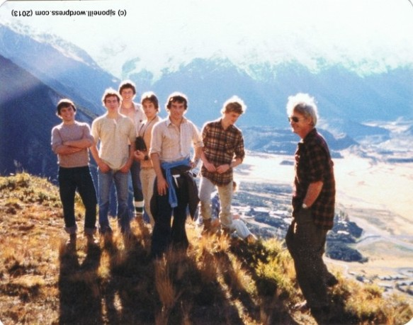 Greg, Dan, Tom, Bren, Jock, Maurice, Ash and Mr Stead on the Red Lakes track