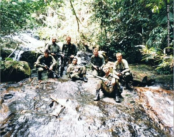 Shane Te Reo, Rongomai Hokianga, 'H' Huria, Mike Solomon, me, Andy Warren and Ken MacLeod, near Labis, Ex KIWI HARIMAU