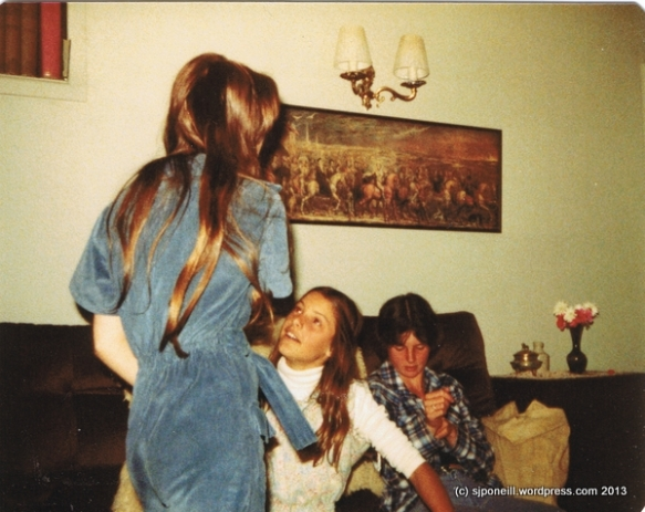Gabrielle, Louise and Lawrie at home