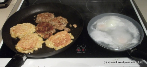 Fish cakes, corn fritters and poached eggs